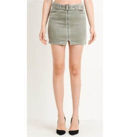 Completely Clueless Belted Corduroy Mini Skirt - French Grey