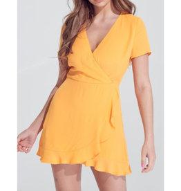 Wrap Me Up Ruffle Bottom Wrap Dress - Tangerine