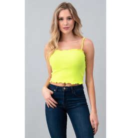 Live Simply Rib Lettuce Cami Top - Neon Lime