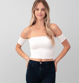 Would You Ever Off the Shoulder Smocking Top - Soft White