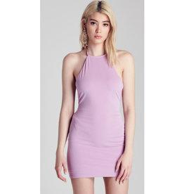 All Things Lovely Back Twist Halter Neck Mini Dress - Lavender