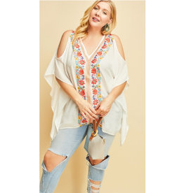 Follow Your Own Path Floral Embroidered V-Neck Top - Off White