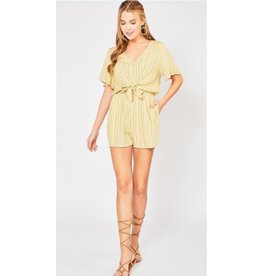 Beautiful Mess Tribal Print V-Neck Romper - Yellow