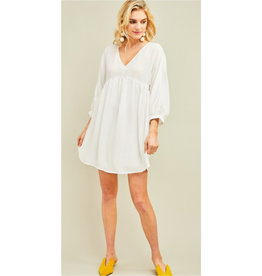 Think About It Solid Scoop Neck Babydoll Dress - Off White