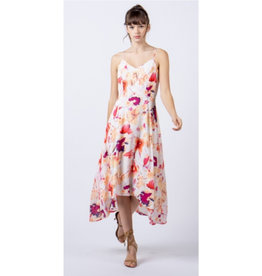 Festive Flowers High Low Floral Print Dress - Pink
