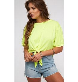 Radiant Glow Neon Front Tie Top - Neon Yellow