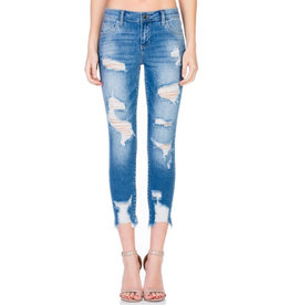False Alarm Shredded Skinny Jeans- Medium Light Denim