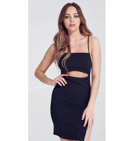 Believe You Can Waist Cut Out Cami Mini Dress - Black