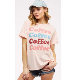 Coffee Coffee Coffee Short Sleeve Graphic Tee - Lt. Peach