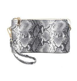 The Riley Wristlet/Crossbody - Black Snake