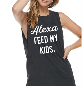 Alexa Feed My Kids Graphic Tee - Charcoal