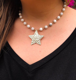 Marble Star Necklace - White