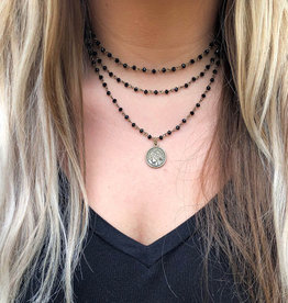 Three Strand Coin Necklace - Black