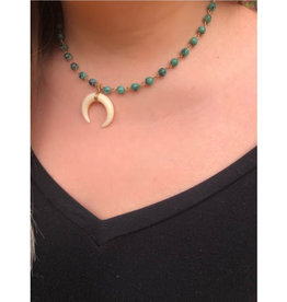 Marble Cresent Horn Necklace - Emerald