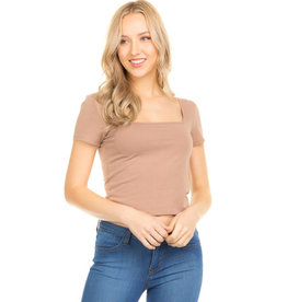 Happy As Ever Square Neck Crop Top - Taupe