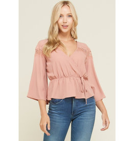 Just Need You To Know Bell Sleeve Top - Baked Pink