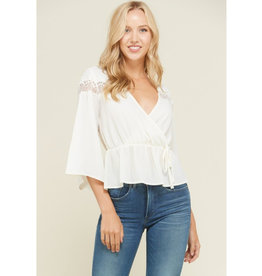 Just Need You To Know Bell Sleeve Top - Soft White