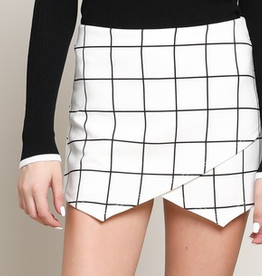 With Your Embrace Window Pane Mini Skort - Off White
