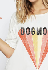 Dog Mom Color Block Diamond Graphic Tee - Off White