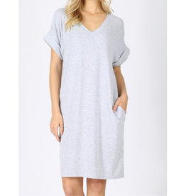 Let's Take A Walk Rolled Short Sleeve V-Neck Dress - H. Grey