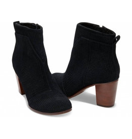 TOMS Lunata Bootie- Black Suede Perforated