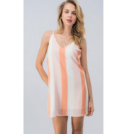 A Magical Occasion Color Block Mini Dress - Peach