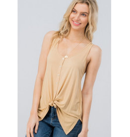 An Unlikely Romance Button Down Top - Tan