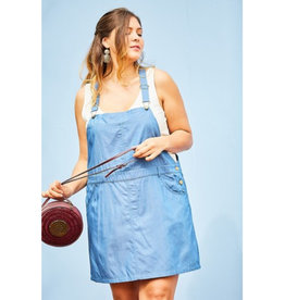 Don't Knock It Denim Overall Dress - Denim