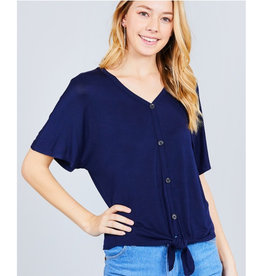 It's Simple V-Neck Top with Button - Navy