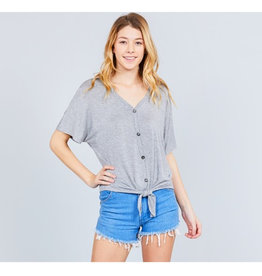 It's Simple V-Neck Top with Button - Heather Grey