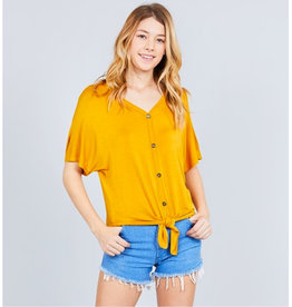 It's Simple V-Neck Top with Button - Mustard
