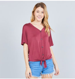 It's Simple V-Neck Top with Button - Smoked Rose