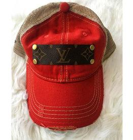 Upcycled LV Baseball Cap - Bright Red