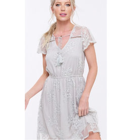 Just Watching You Embroidered Lace Dress - Light Grey