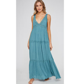 Not Your Sweetheart Lace Detailed Maxi Dess - Dark Cyan
