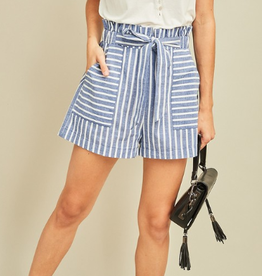 There's No Way Striped High Waist Paperbag Shorts - Denim