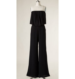 Forever Late Strapless Ruffled Jumpsuit - Black