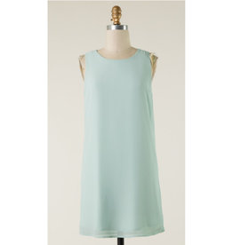 Golden Moments Back Zip Dress - Dusty Sage