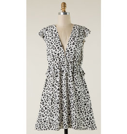 Look Far Leopard Print Dress - White/Black