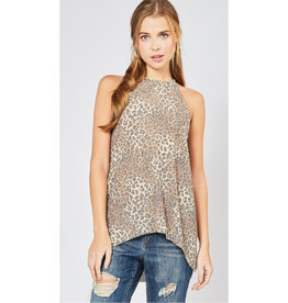 Out In The Open Animal Print Halter Neck Top - Leopard