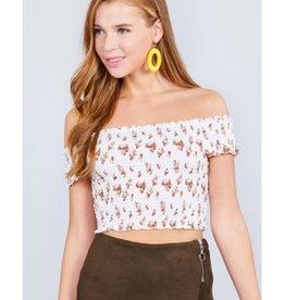 No Matter What Short Sleeve Off Shoulder Crop Woven Top - Cream