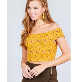 No Matter What Short Sleeve Off Shoulder Crop Woven Top - Mustard