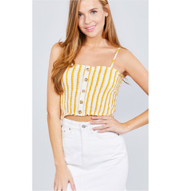 She's A Vision Smocked Detail Striped Cami Top - Mustard