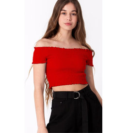 Spring Breaker Smocked Off The Shoulder Top - Indie Red