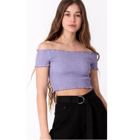 Spring Breaker Smocked Off The Shoulder Top - Lavender