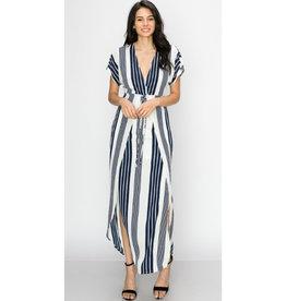 Hello Lovely Plunge Tie Waist Maxi Dress - Dark Navy