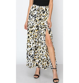 Catch You Looking Leopard Print Tulip Pants - Silver