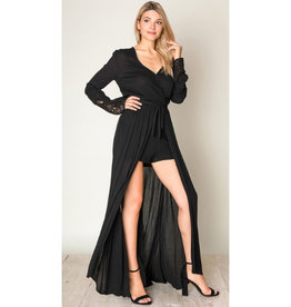 First Love Long Sleeve Kimono Dress - Black