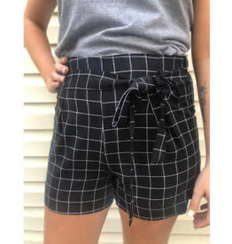 All A Dream Grid Pattern Shorts - Black/Ivory