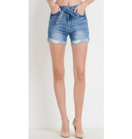 Can't Get Over You Front Tie High Waisted Denim Shorts - Medium Wash